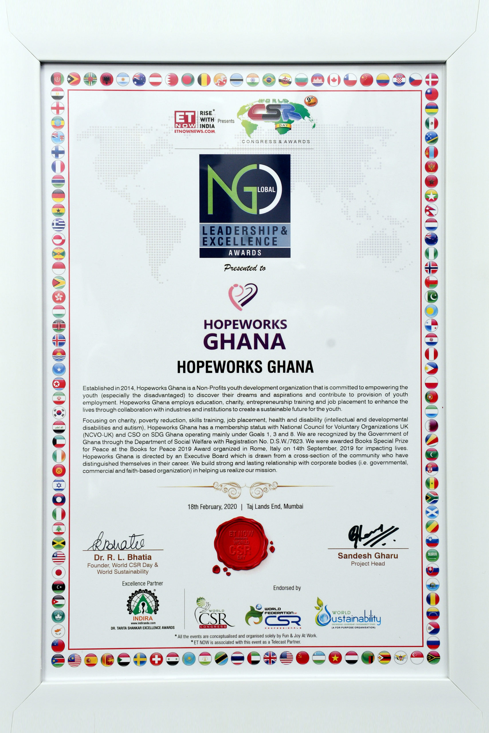 GLOBAL NGO LEADERSHIP AWARD