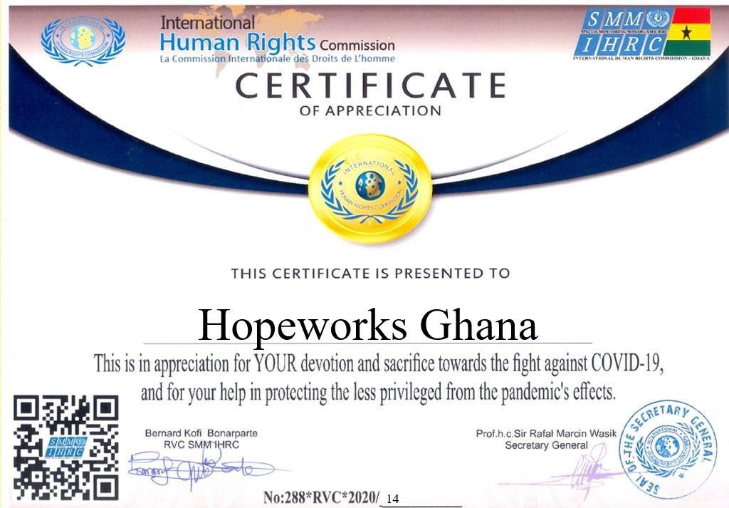 Int. Human Rights Commission COVID-19 Award