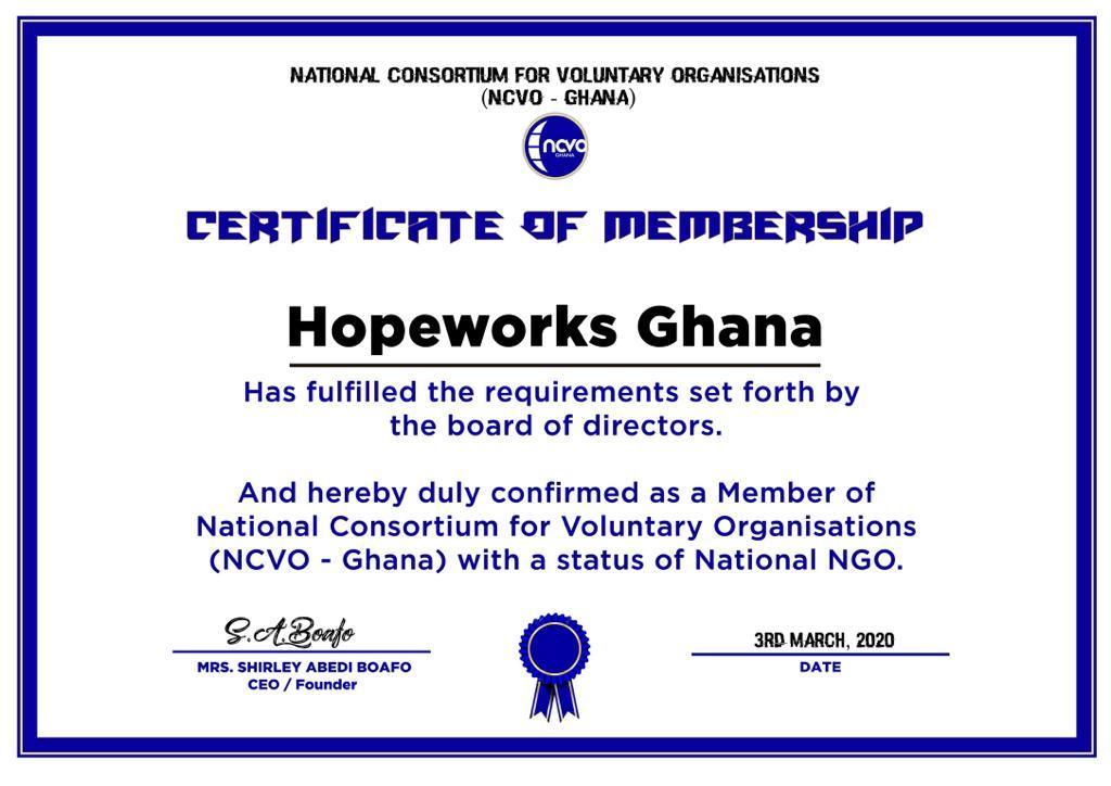 NCVO-GHANA MEMBERSHIP CERTIFICATE
