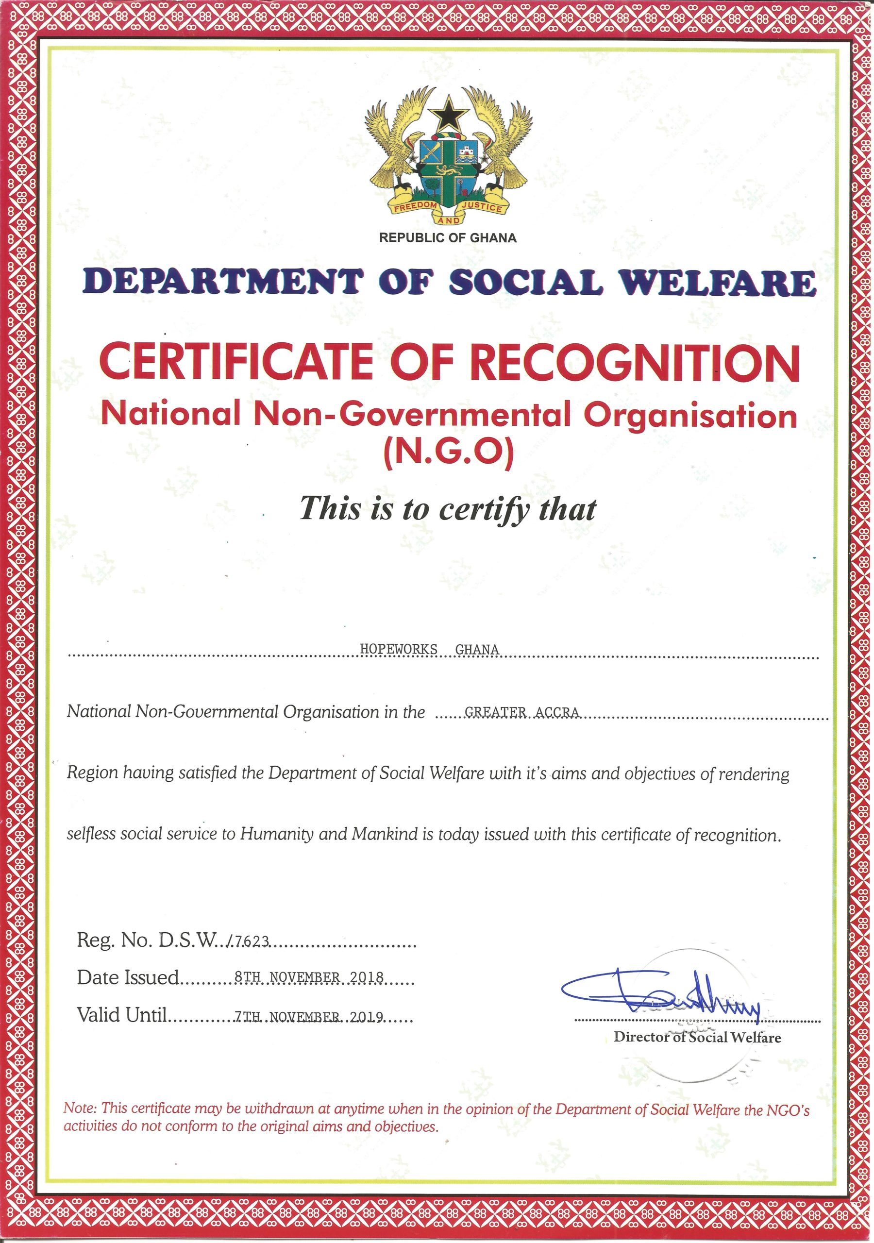 Social Welfare Certificate